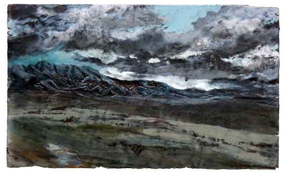 """Galbraith, Encaustic, Charcoal and Oil on Wood, 16"""" x 26"""", 2013"""